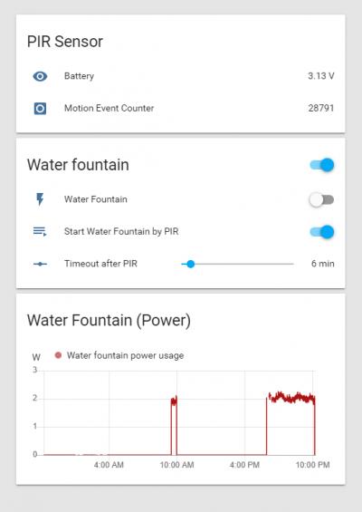 PIR controlled water Fountain [Vladimír Mach]